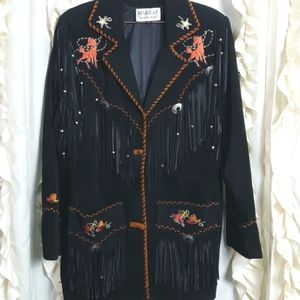 Vtg leather western concho fringe embroider jacket